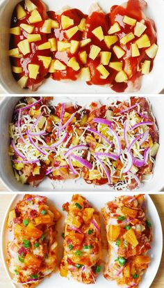 Easy Baked Chicken - quick recipe - perfect to make for a family weeknight dinner. The ingredients list includes chicken breasts, BBQ sauce, red onions, pineapple, bacon. Quick Recipes, Cooking Recipes, Healthy Dinner Recipes, Bulk Cooking, Carrot Recipes, Spinach Recipes, Rib Recipes, Sausage Recipes, Casserole Recipes