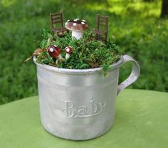 Find images and videos about baby, mini garden and silver cup on We Heart It - the app to get lost in what you love. Garden Crafts, Garden Art, Garden Ideas, Create A Fairy, Mini Fairy Garden, Fairy Gardening, Indoor Gardening, Broken China Jewelry, Garden Terrarium