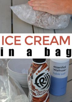 ice cream in a bag experiment - make homemade ice cream using milk, ice and salt. Fun kitchen science experiment for kids. Kitchen Science, Food Science, Science Experiments Kids, Science For Kids, Biology For Kids, Chemistry For Kids, Making Homemade Ice Cream, Make Ice Cream, Steam Activities