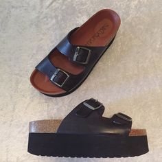 3899ea9cf66d SIXTY SEVEN platform black sandals! Birkenstock look a like! Bought from LF  Stores! Depop