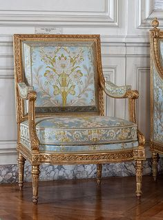 ***** Jean-Baptiste-Claude SÉNÉ ~ Pair of bergères (armchairs) ~1789, Paris | These two bergères belonged originally to a set designed to furnish the 'salon de compagnie' (reception room) of Madame Elisabeth (1764-1794), the sister of Louis XVI, at the Château de Montreuil (Versailles). This furniture set was one of the last to be delivered to the Royal Furniture Repository before the French Revolution. Now in the Grand Cabinet du Dauphin | Versailles