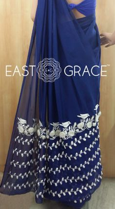 Sneak Peeks of the Deep Blue Pure Chiffon Saree with White Birdies and White Organza Floral Vine. Coming Soon ONLY ON www.eastandgrace.com. For pre-orders or questions, reach us at orders@eastandgrace.com. With love, EAST & GRACE