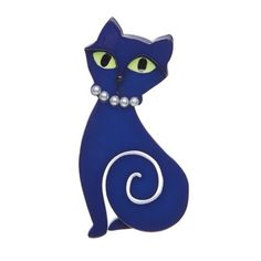 "Erstwilder Limited Edition Meow at Midnight Brooch. ""Is that the moonlight you find so hypnotic? Or does that luminescence emanate from our lovely feline friend?"""