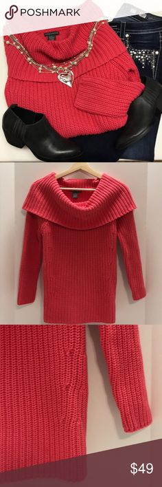"""JUST IN - Chelsea & Theodore Cowl Neck Sweater This sweater is in a beautiful shade of coral that they call """"melon purée"""".  It is made of thick, soft, 100% cotton yarn so it will be washable but you may want to air dry to keep it's shape.  It has a large cowl neck that gives it a nice soft look and is a heavy weight sweater so it will keep you nice a toasty in the colder months.  It is a roomy sweater for a small (pit to pit 18"""", shoulder to hem 24"""").  There is also a 4""""""""kick-pleat"""" hem…"""
