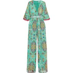 Matthew Williamson Inca Jewel silk-chiffon jumpsuit (£805) ❤ liked on Polyvore featuring jumpsuits, teal, flared jumpsuit, sleeve jumpsuit, teal jumpsuit, green jumpsuit and jump suit