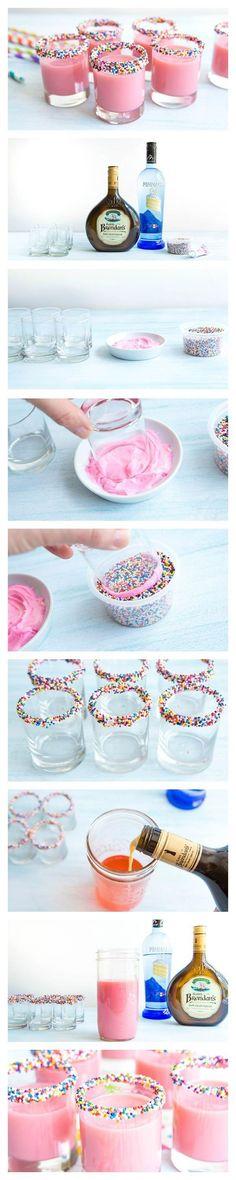 Bright pink shots that taste just like birthday cake!: