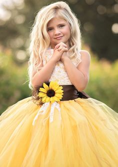 Sunflower Flower Girl Dress Wedding Inspiration Fall 2016 See more here… autumn wedding colors / wedding in fall / fall wedding color ideas / fall wedding party / april wedding ideas Flower Dresses, Ball Dresses, Ball Gowns, Girls Dresses, Pageant Dresses, Tutu Dresses, Long Dresses, Yellow Wedding Flowers, Fall Wedding Colors