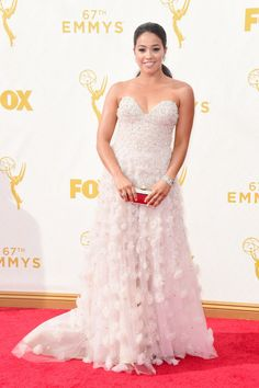 Gina Rodriguez in a Lorena Sarbu dress and Forevermark Diamonds at the 2015 Emmys. See what all the stars wore to the ceremony.