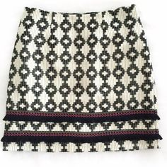 NWT Aztec tribal skirt - size 6 Cute tribal print stitched skirt with two tiers of fringe at the bottom. Back zip, fully lined.  Two sizes available: 6 or 8. Please select your size when purchasing.  🔹Condition: new with tags 🔹 Measurements: size 6 length is 18 inches. Size 8 length is 18.5 inches. 🔹Materials: 100% cotton outer, 65% polyester / 35% cotton Merona Skirts Pencil