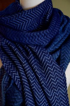 One-off handwoven scarf in blue tones and chevron pattern. Qiviut, Cashmere and Silk yarn.