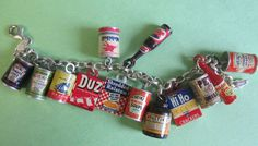 30's-50's vintage celluloid and tin food charms on charm bracelet