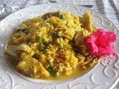 Arroz con alcachofas, guisantes y azafrán. http://www.mis-recetas.org/recetas/show/27846-arroz-con-alcachofas-guisantes-y-azafran