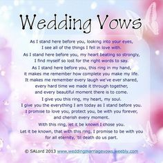 Romantic Wedding Vows Examples For Her and For Him | Examples ...