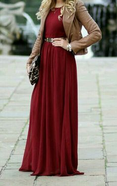 Burgundy Dress, Leopard Clutch, Brown Leather Jacket, Belt