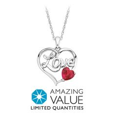 """Amazing Value! Created Ruby """"Love"""" Heart Pendant in Sterling Silver Now $39.99 (Original Price $99.00) at FredMeyerJewelers.com"""