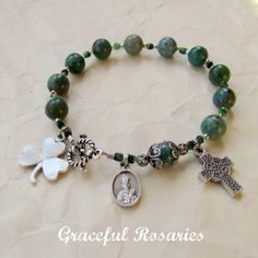 Irish Rosary Bracelet  Green St Patrick Celtic by GracefulRosaries, $18.00