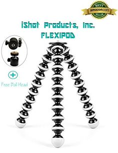 iShot Pro Gorillapod Hybrid Tripod Flexipod for SLR Zoom DSLR Mirrorless Cameras GoPro iPad iPhone Mounts  A Flexible Portable and Lightweight Tripod With a 360 Locking Ball Head  EXTRA LARGE -- Read more reviews of the product by visiting the link on the image.