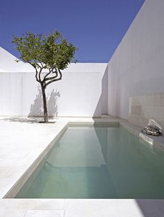 Plunge pool in white courtyard