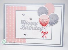 handmade birthday card ... Balloon Celebration ... pink, gray and white ... like the design ... Stampin' Up!