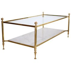 Brass And Carrara Marble Coffee Table