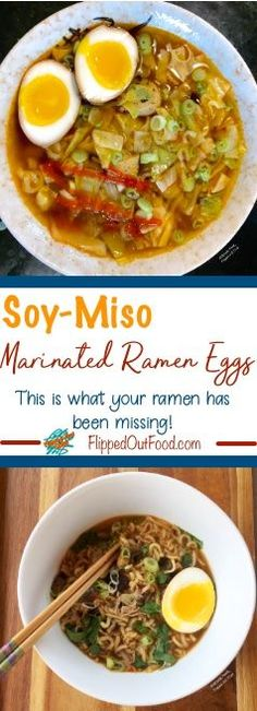 Soy-Miso Marinated Ramen Eggs can elevate the humblest bowl of ramen soup. These eggs are cooked to custardy perfection and then marinated in a mixture of soy sauce, miso, and vinegar. #ramen #rameneggs #marinatedeggs #seasonedeggs #ramensoup #flippedoutfood #asianfood Diner Recipes, Meat Recipes, Asian Recipes, Japanese Recipes, Ethnic Recipes, Easy Diner, Ramen Soup, Asian Soup, Hot Soup