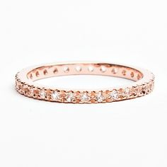 Style #700 Sterling Silver 18k Rose-Gold, with Created White Sapphire