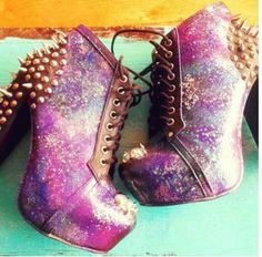 #booties #galaxy #shoes #lace boots #studs