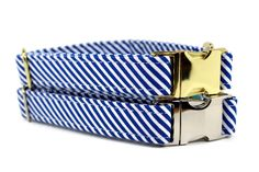 Boy Dog Collar  Blue and White Striped Dog Collar  by 4BlackPaws