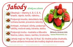 Info obrazok jahody Fruit Facts, Raw Food Recipes, Healthy Recipes, Food Art, Natural Health, Detox, Food And Drink, Strawberry, Health Fitness