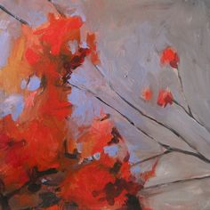jill van sickle  - beautiful - loosely painted and the negative shapes made from the leaves in blue - nicely done!
