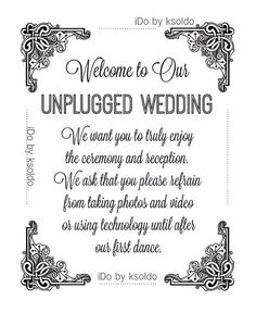 unplugged wedding sign 8 x 10 no cell phones turn off unplugged