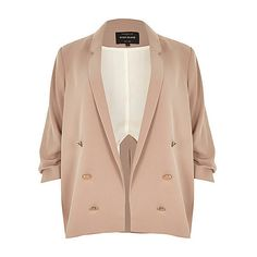 RI Plus blush pink ruched sleeve blazer ❤ liked on Polyvore featuring outerwear, jackets, blazers, pink blazer jacket, pink jacket, slim fit jacket, lapel jacket and fitted blazer