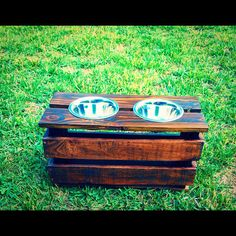 elevated raised reclaimed wood dog or cat food stand with stainless steel bowls dog bowl stand dog feeder cat feeder per feeder Dog Food Stands, Dog Bowl Stand, Boxer Puppies, Dogs And Puppies, Doggies, Cat Feeder, Wood Dog, Dog Rooms, Diy Stuffed Animals
