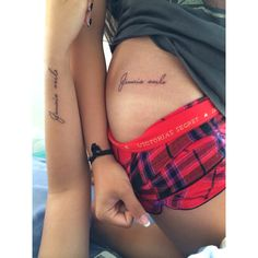 "Jamais Seule (it means ""Never Alone"" in French). Perfect family tattoo."