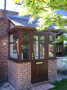 Lean To style Porch with tiled roof and Rosewood uPVC door and windows. Rustic Pergola, Curved Pergola, Pergola Canopy, Pergola Attached To House, Pergola With Roof, Pergola Plans, Pergola Ideas, Pergola Kits, Porch Uk