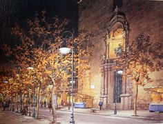 Abel Puche   WATERCOLOR Streetlamp