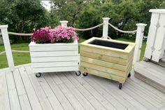 Super nice flower box on wheels. Practical. Diy
