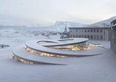 Swiss Spiraling Watch Museum BIG has been chosen to expand the headquarters of the iconic Swiss watchmaker Audemars Piguet in Le Brassus, a small town in the heart of La Vallée… Architecture Design, Pavilion Architecture, Modern Architecture House, Concept Architecture, Futuristic Architecture, Sustainable Architecture, Landscape Architecture, Contemporary Buildings, Computer Architecture