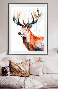 Deer watercolor painting print Deer art animal art by SlaviART