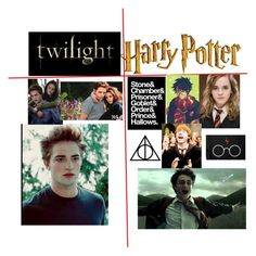 """""""Harry Potter vs. Twilight"""" by ria-c ❤ liked on Polyvore featuring art"""