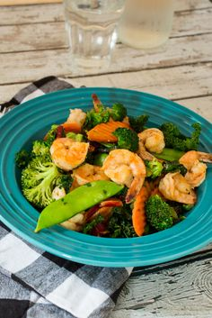 Shrimp Kale and Red Chard Stir Fry #EatSmartVeggies - The Girl In The Little Red Kitchen