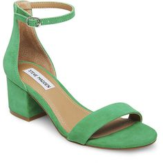 Steve Madden Irenee Heels ($80) ❤ liked on Polyvore featuring shoes, pumps, green sde, mid-heel shoes, suede pumps, green suede pumps, steve madden pumps and strap pumps