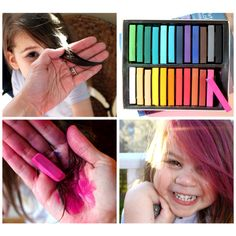 Latest Craze Chalking Color to Hair... Kids bored?  Try this...color strands of hair with chalk.... Best part it washes out