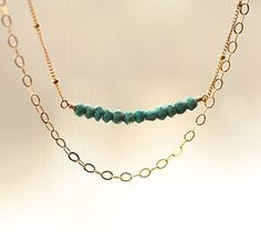 Turquoise Necklace, Double Strand Necklace, Dainty Gemstone Necklace, Row of Gems, Summer Necklace, Beach Inspired Jewelry, Gold Filled,