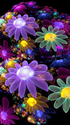 Color Wallpaper Iphone, Blue Flower Wallpaper, Colorful Wallpaper, Cellphone Wallpaper, Flower Backgrounds, Wallpaper Backgrounds, Colorful Flowers, Blue Flowers, Painting Wallpaper
