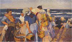 'Pêcheuses', huile sur toile de Joaquin Sorolla Y Bastida (1863-1923, Spain)