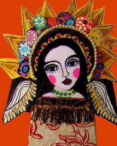 Mexican Folk Art - Mexican Angel Art Poster Orange Virgin of Guadalupe Angels Print