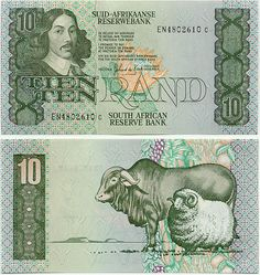 South Africa 10 Rand (1985-90) (flower, bull, ram)