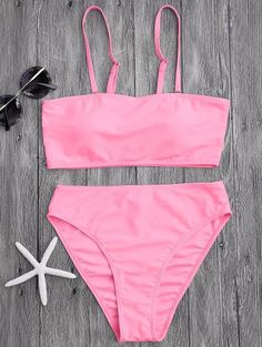 High Cut Bandeau Bikini Set Swimwear Women 2018 Swimsuit Bathing Suit Mid Waist Spaghetti Straps Tube Bikini Femme Pink S Cute Swimsuits, Cute Bikinis, Women Swimsuits, Swimsuits 2017, Push Up Swimsuit, Bandeau Bikini Set, Zaful Bikinis, Bikini Types, Cute Bathing Suits