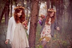 Two girls in woods